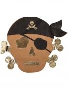 16 Serviettes en papier Pirate kraft et dorure 33 x 33 cm