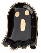 8 Assiettes en carton petit fantôme noir et or 23 x 16 cm