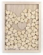 Livre d'or cadre en bois 30 x 42 cm 100 cœurs