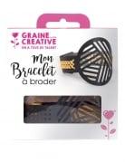 Kit bracelet à broder cuir noir motifs géométriques