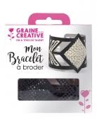 Kit bracelet à broder cuir noir motif losange