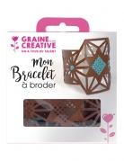 Kit bracelet à broder cuir marron motif étoile