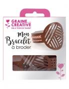 Kit bracelet à broder cuir marron motifs géométriques