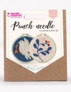 Kit de broderie Punch needle diptyque oiseau et feuille 15 cm