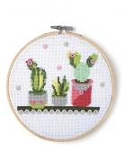 Kit tambour à broder Cactus 15,5 cm