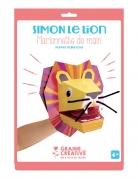 Marionnette de main en carton Simon le lion 20,5 x 29 cm