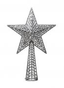 Cimier de sapin étoile argentée pailletée 27 cm