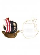 8 Cartes d'invitation bateau pirate 10 x 12 cm