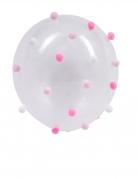 5 Ballons pompons transparents rose et blanc 30 cm